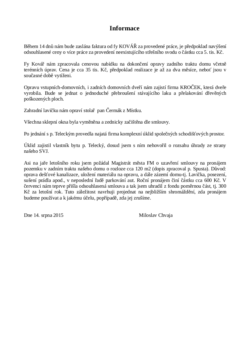 Informace 14.08.2015