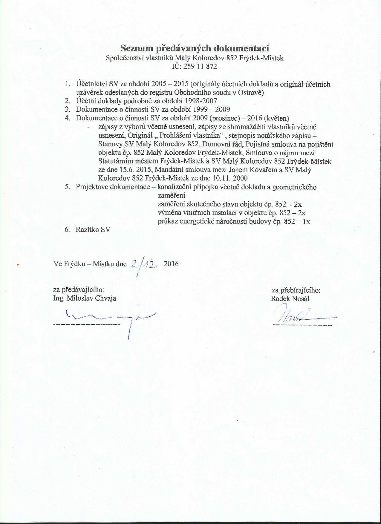 Seznam dokumentů